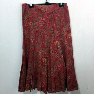 Lauren Ralph Lauren Paisley Print Linen Skirt Sz 8